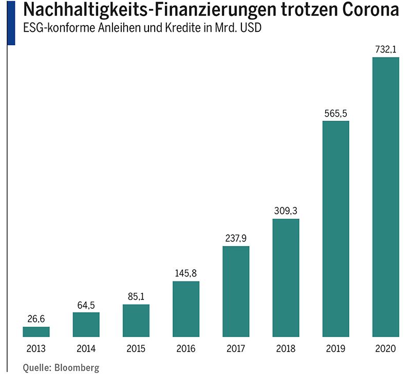 Nachhaltigkeits-Finanzierungen trotzen Corona
