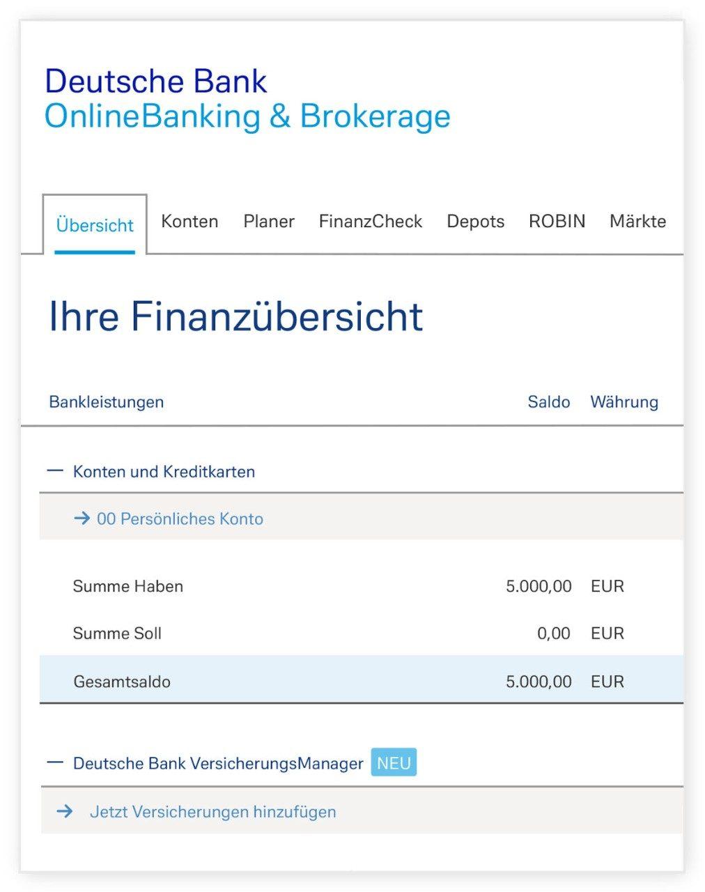 Finanzübersicht im Online-Banking