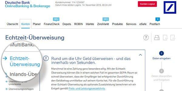 Echtzeit Uberweisung Deutsche Bank Privatkunden